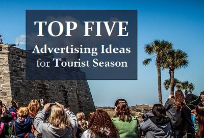 A cover photo for a blog top five advertising ideas.