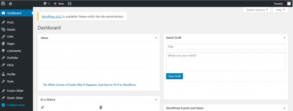 Back-end of CMS WordPress