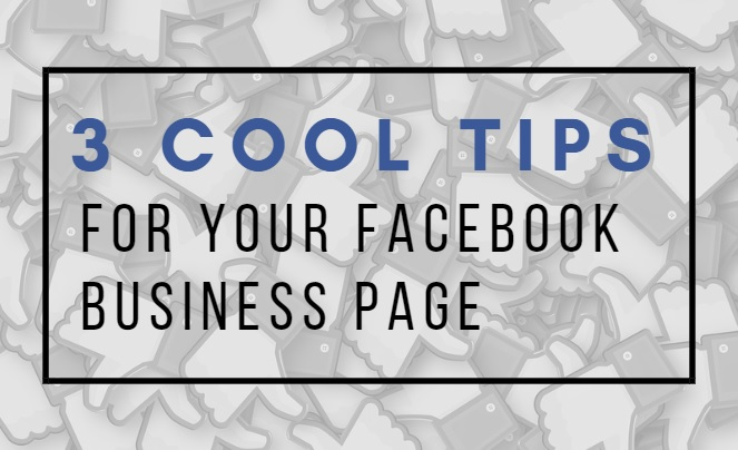 "A cover photo with the text ""4 cool tips for your facebook business page"" over the thumbs up Facebook image."