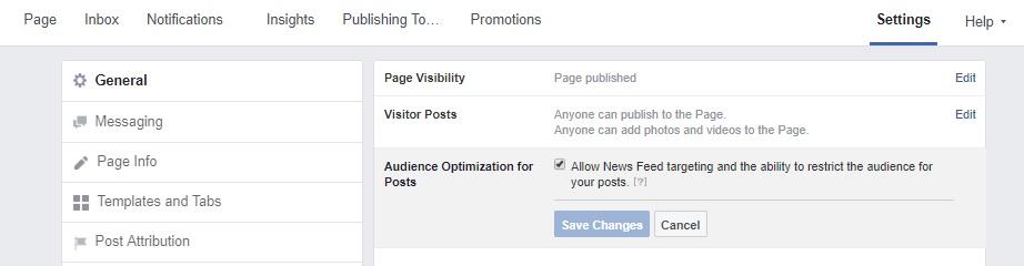 A screen shot of Facebook settings.