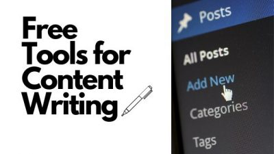 "This image is of text that reads ""Free Tools for Content Writing""."