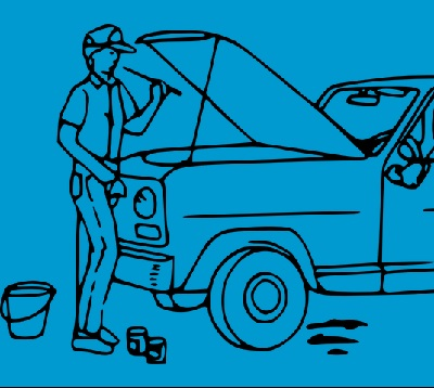 Image contains a graphic of a man changing oil on a truck.