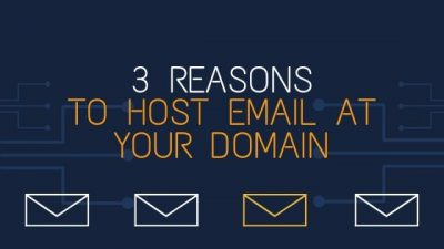 "Image contains email icons and text that reads ""Reasons to Host Email at Domain."""