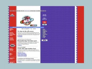 Nascar.com's home page in 1996.