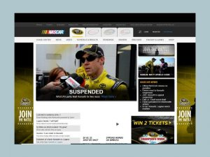 Nascar.com's home page in 2015.